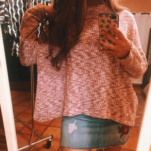 Rose Speckled Oversized Turtleneck Sweater